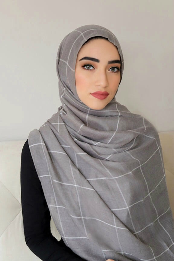 Check Print Light Hijab-Gray