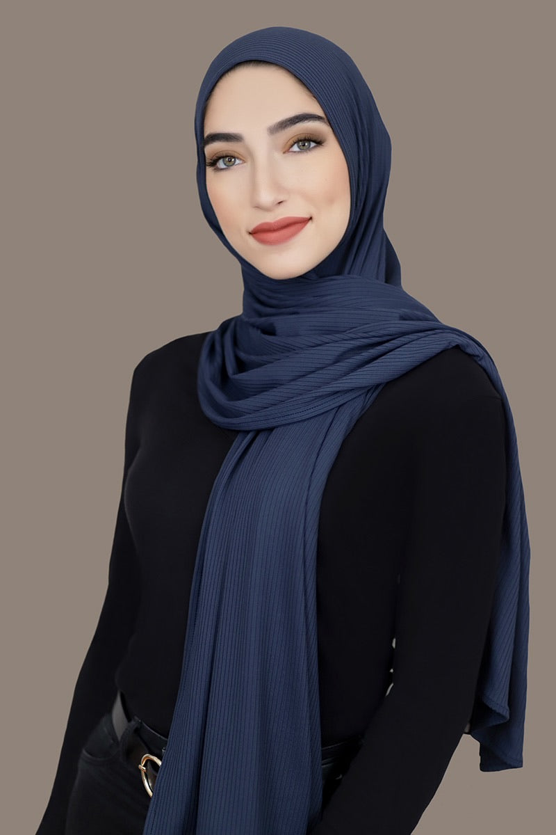 Ribbed Jersey Hijab-Navy