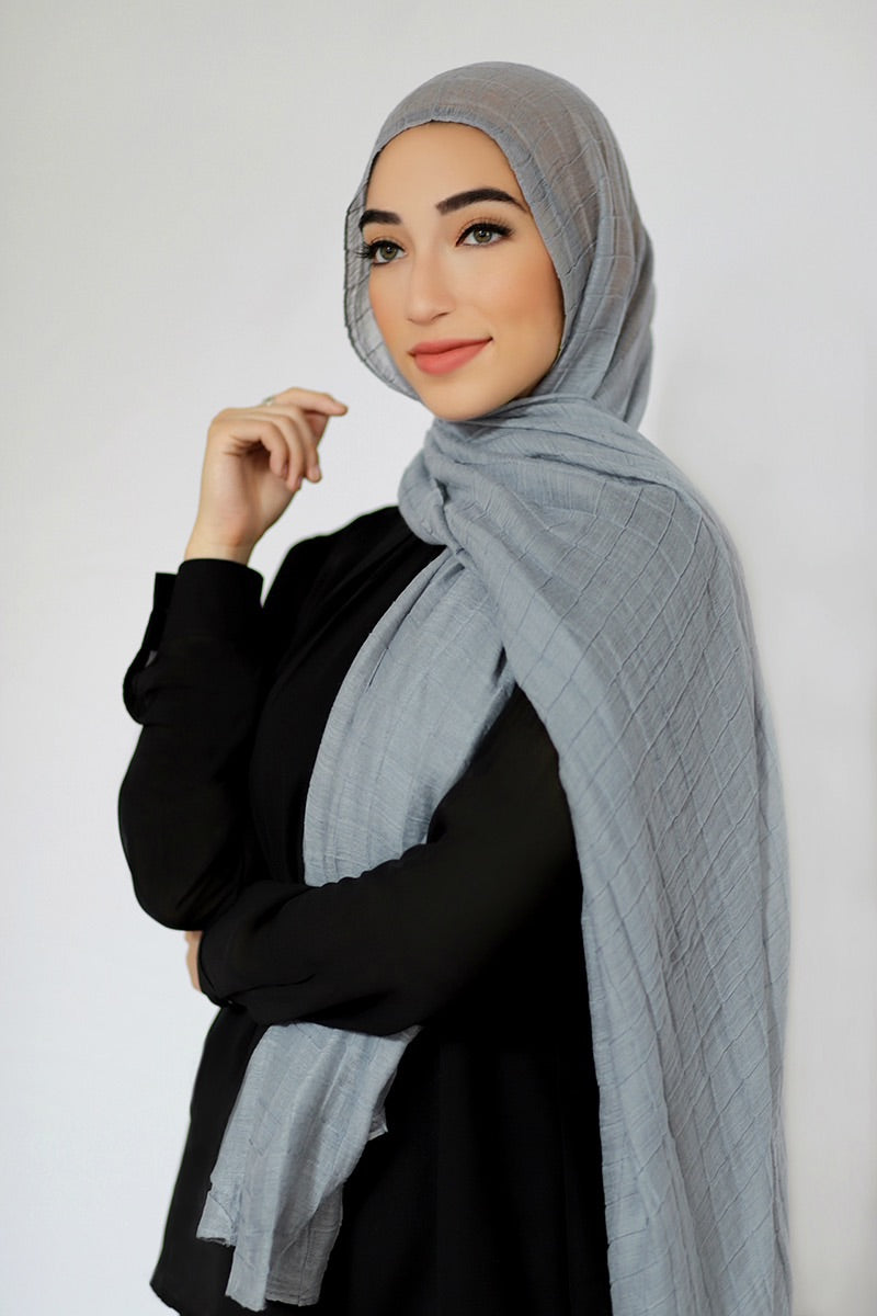 All Boxed Up Light Hijab-Light Gray