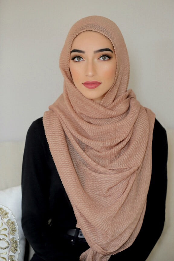 PLEATED LIGHT HIJAB-TAN