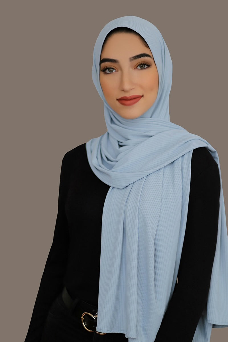 Ribbed Jersey Hijab-Powder Blue
