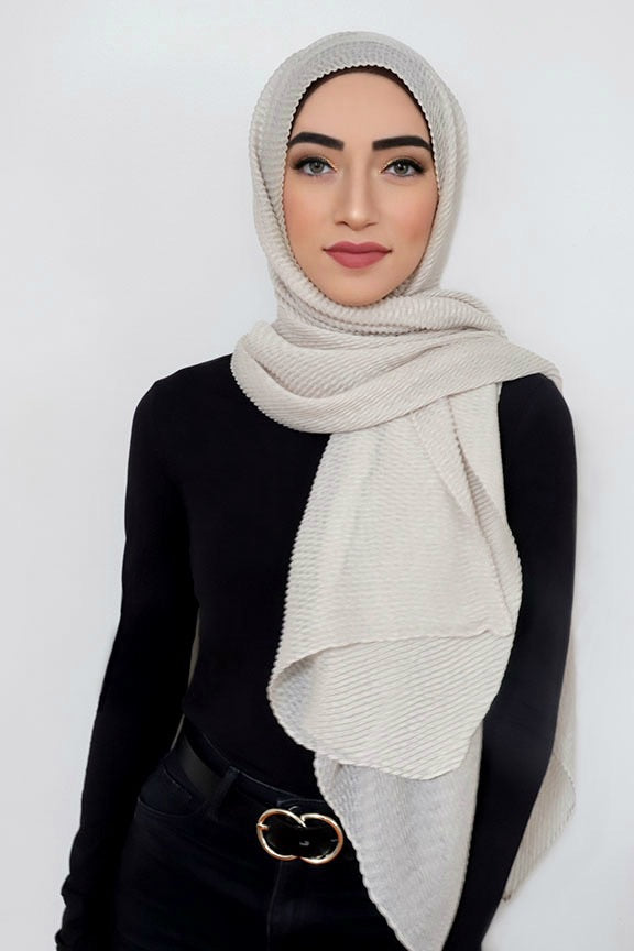 PLEATED LIGHT HIJAB-IVORY
