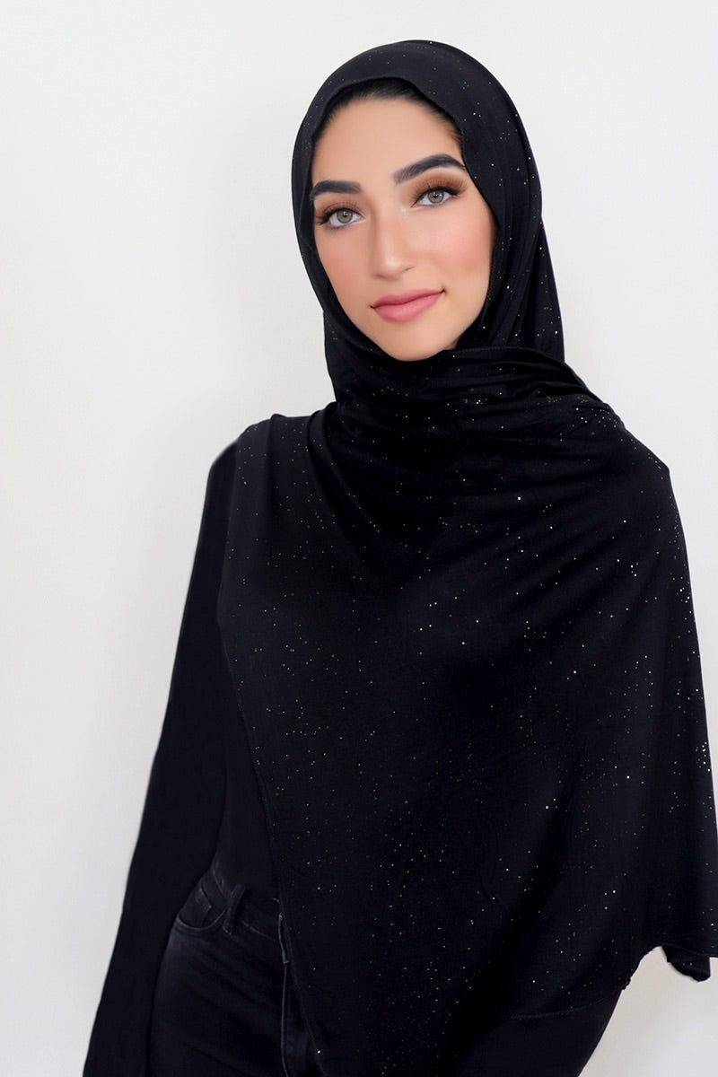 Small Shimmer Jersey HIjab-Black