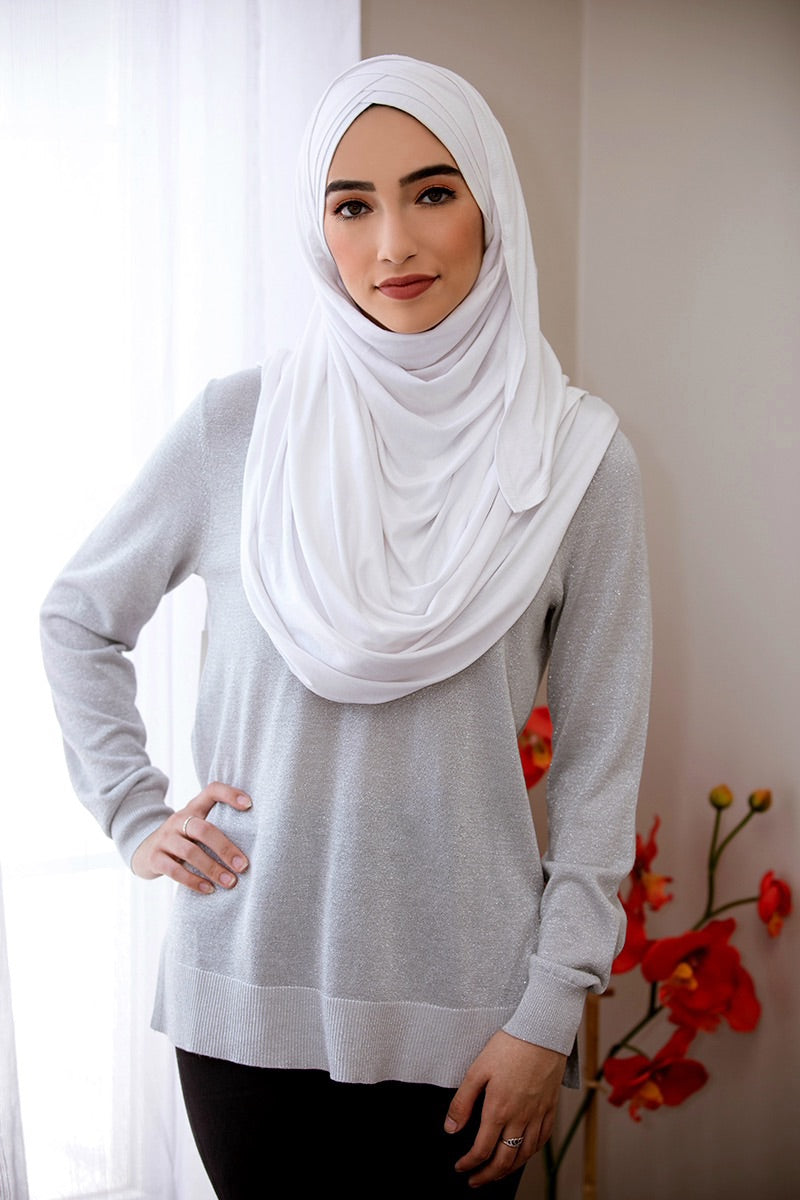 Criss Cross Jersey Hijab-White