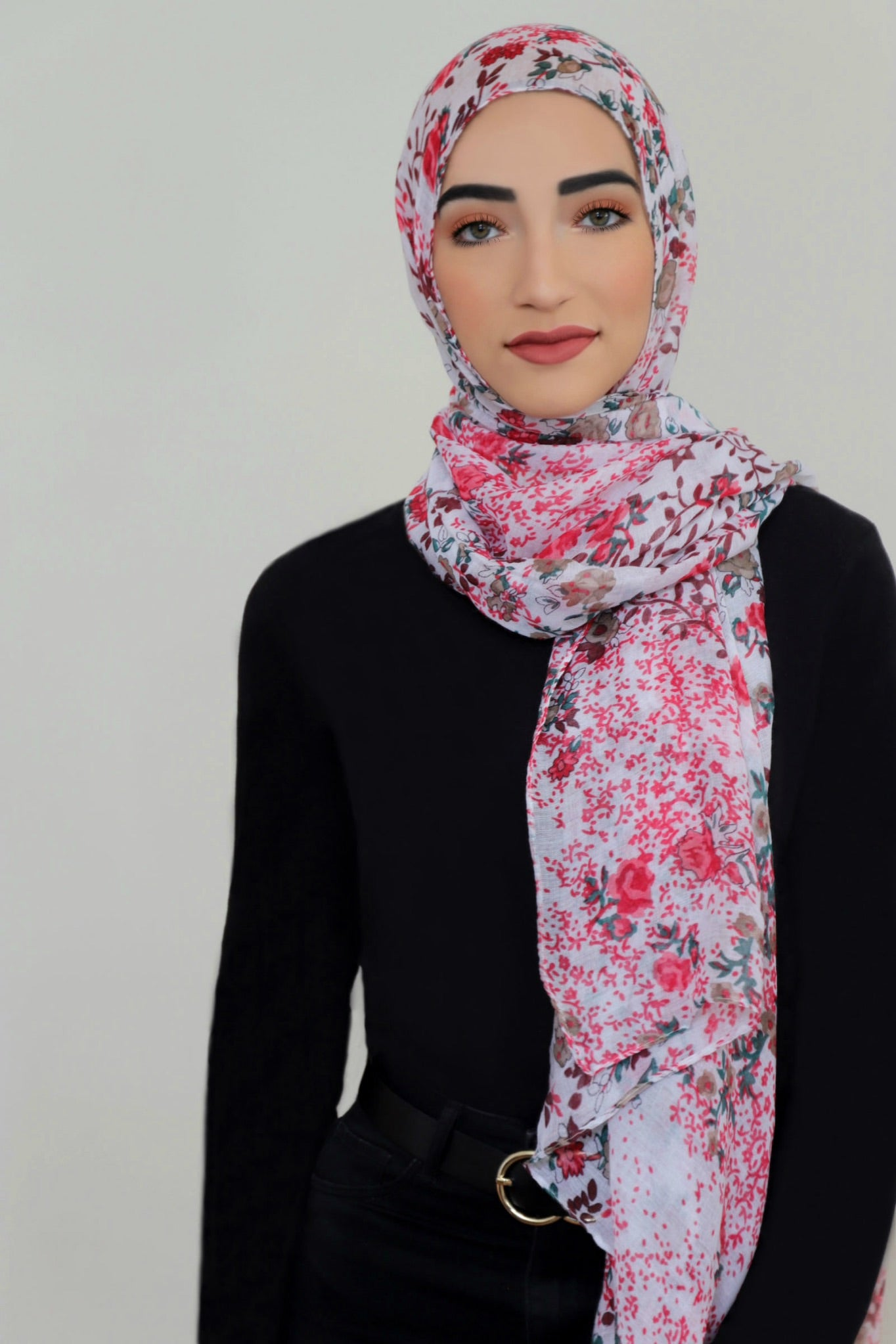 Mixed Floral Light Hijab-Red