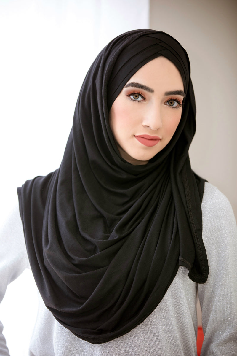 Criss Cross Jersey Hijab-Black