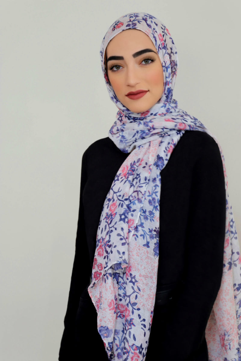Mixed Floral Light Hijab-White