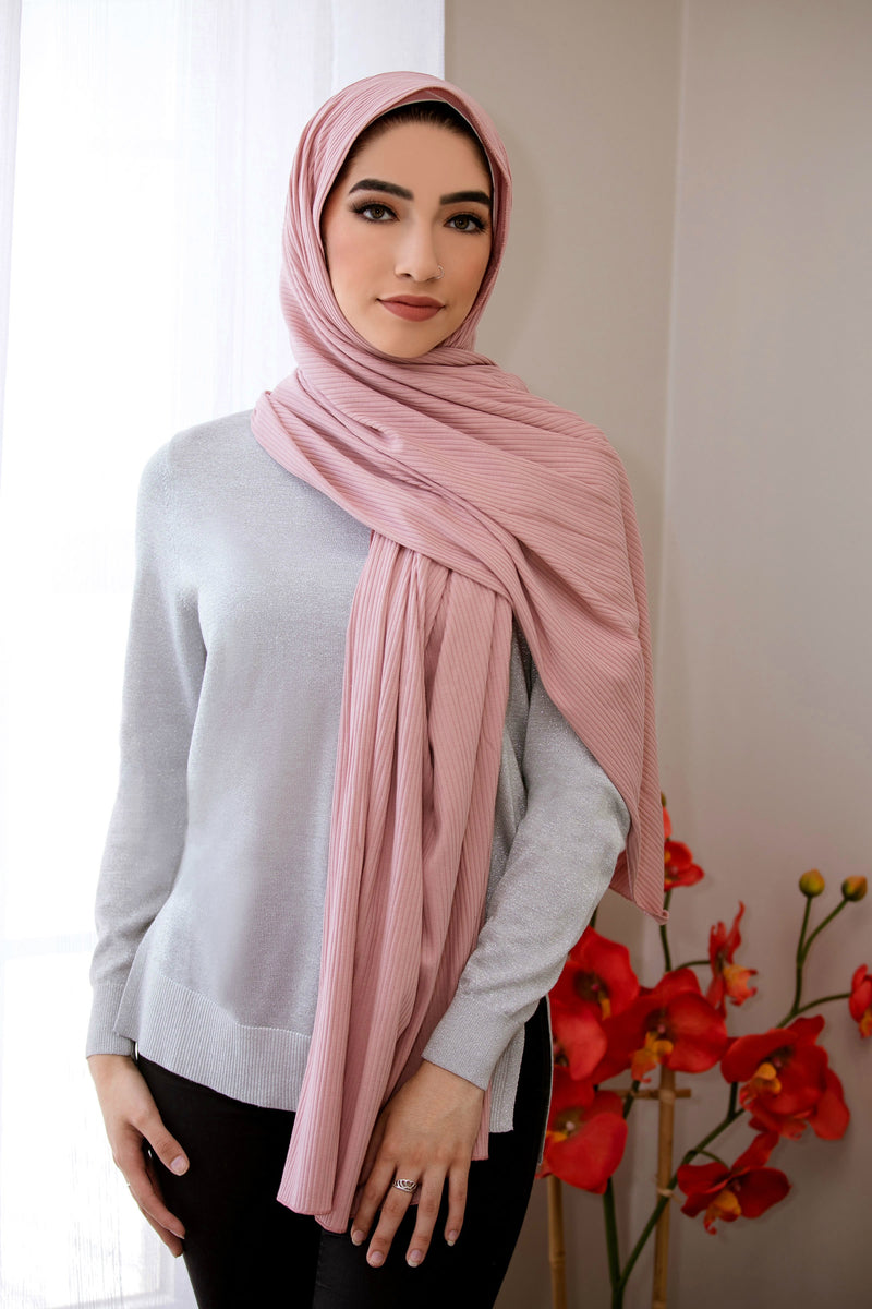 Ribbed Jersey Hijab-Rose Pink