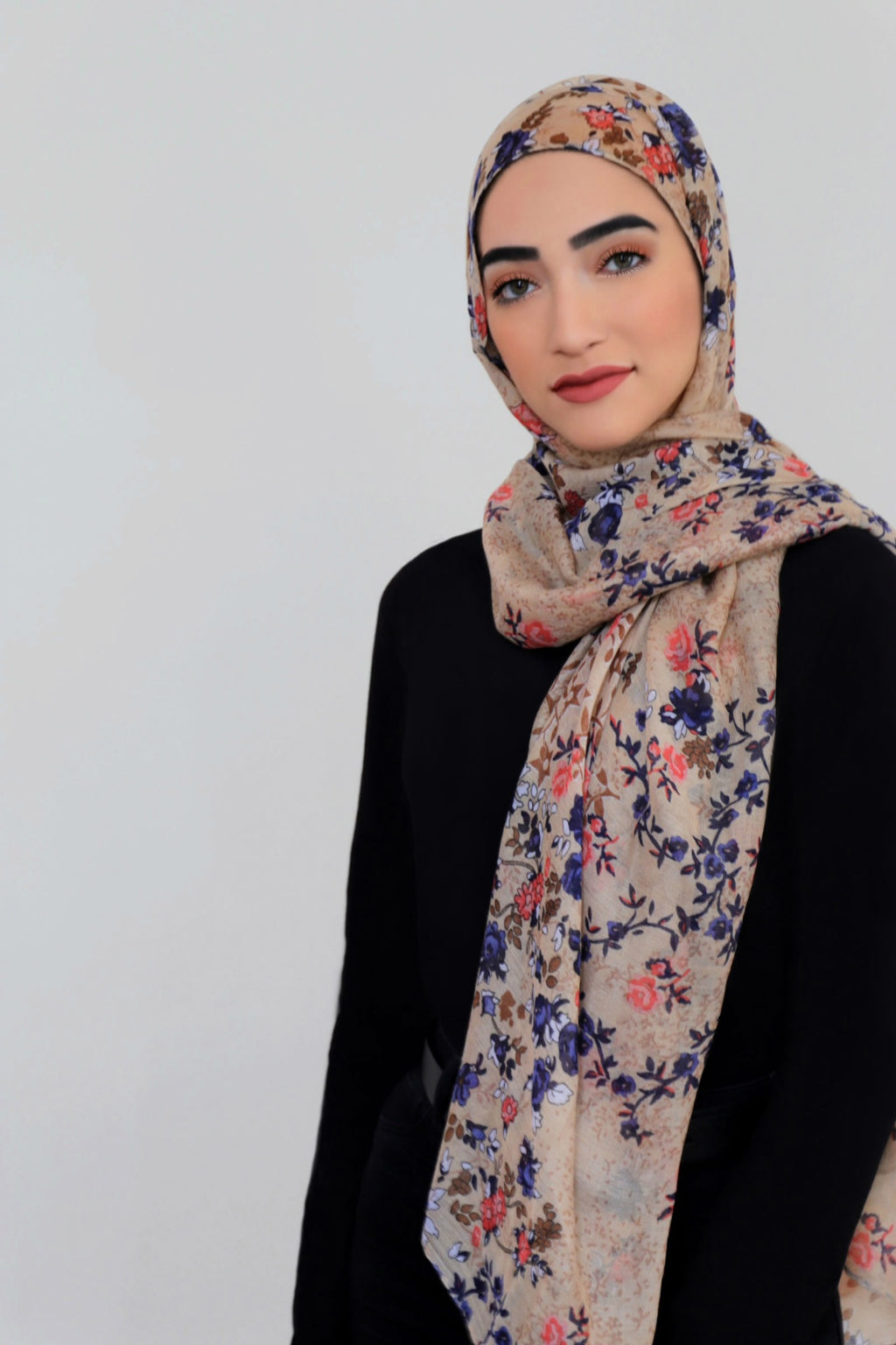 Mixed Floral Light Hijab-Tan