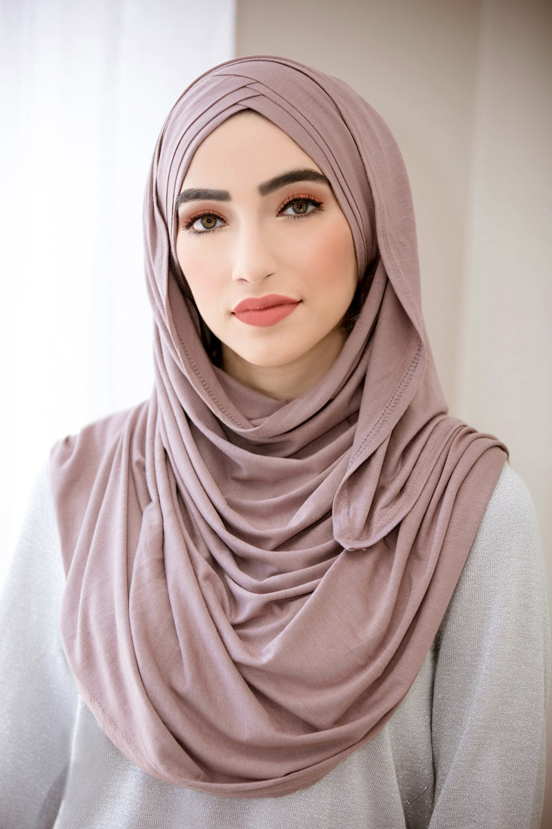 Criss Cross Jersey Hijab-Dusty Rose
