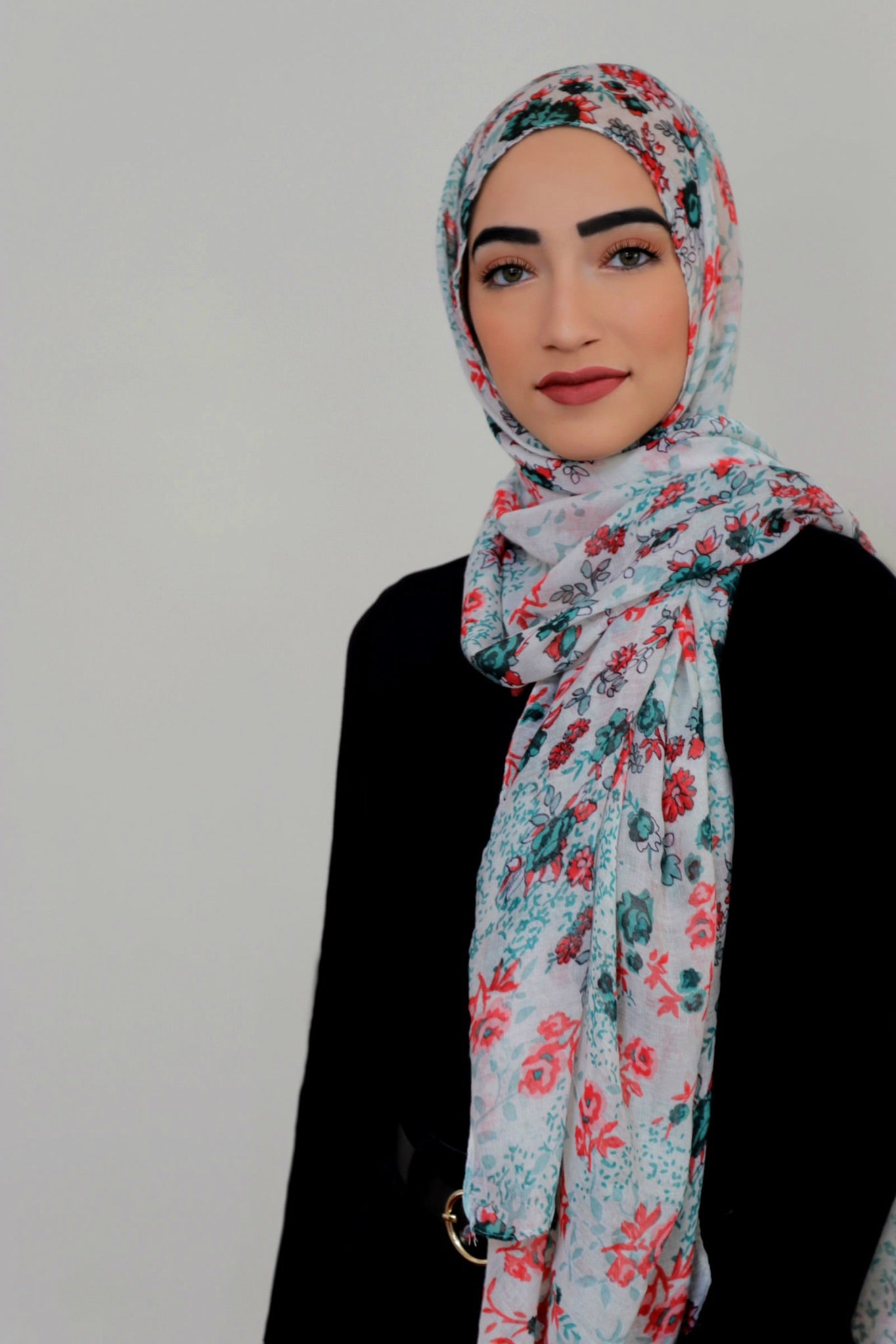 Mixed Floral Light Hijab-Green