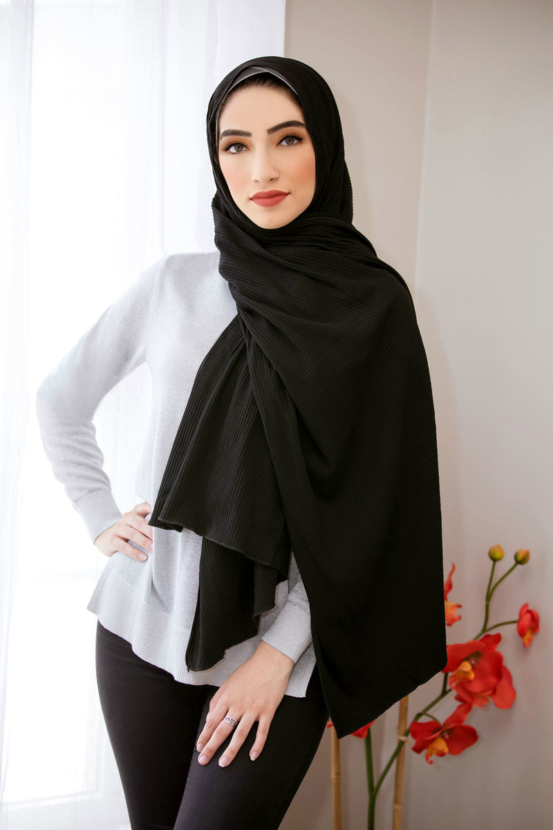 Ribbed Jersey Hijab-Black