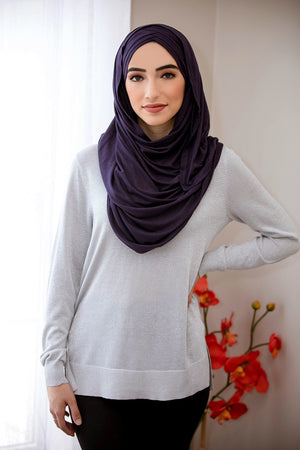 Criss Cross Jersey Hijab-Navy