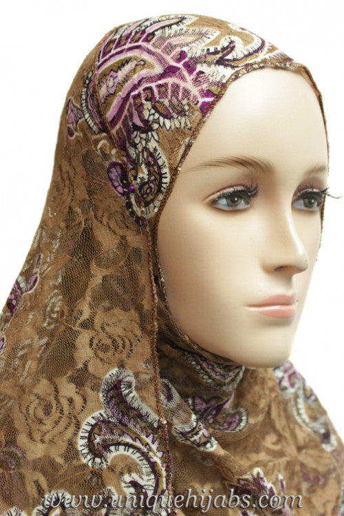 Lace Hijab Paisley-Light Brown