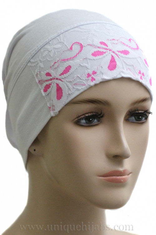 Tube Underscarf Lace Front-White