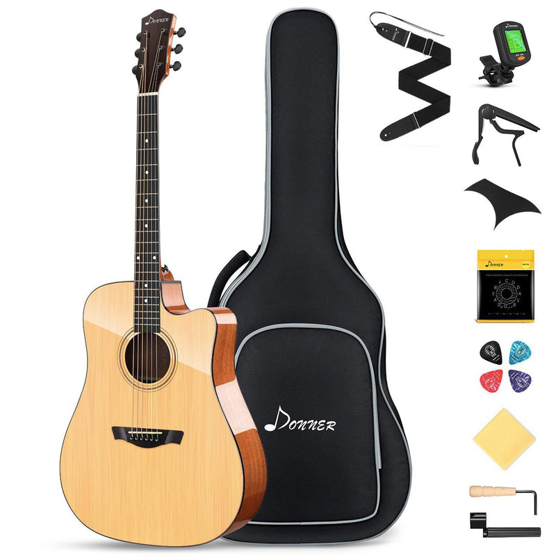 Donner DAD-812C Solid Top Acoustic Guitar Cutaway 41 Inch Guitar Bundle Kit for Beginners Adults