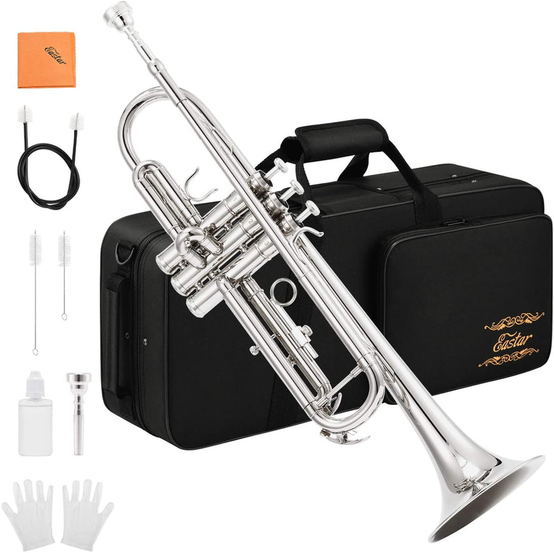 Eastar Trumpet B Flat Standard Student Bb Trumpet Musical Instrument with 7C Mouthpiece,Gloves,Cloth,Cleaning Suit,Hard Case ETR-380