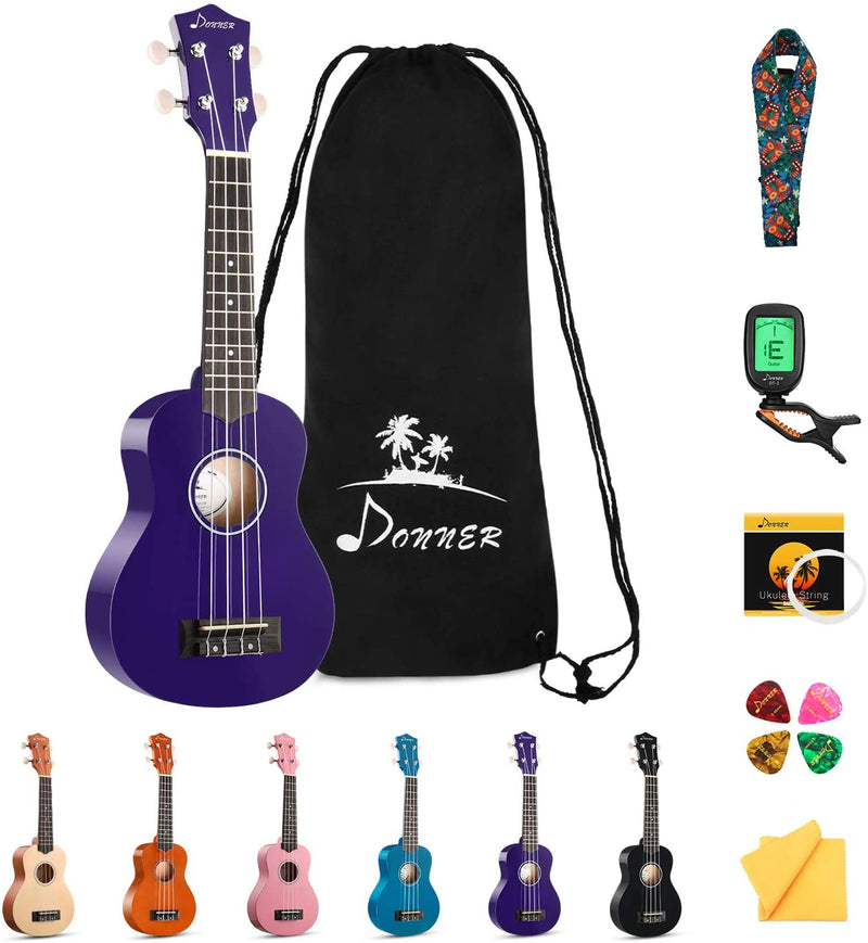 Donner Soprano Ukulele Beginner Kit for Kids Students 21 Inch with Bag Strap Strings Tuner Picks Polishing Cloth, DUS-10K Rainbow Series