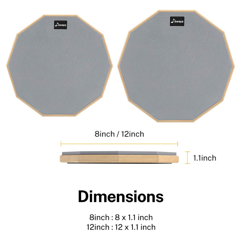 Donner 8 Inches Drum Practice Pad Multiple Colors With Drum Sticks