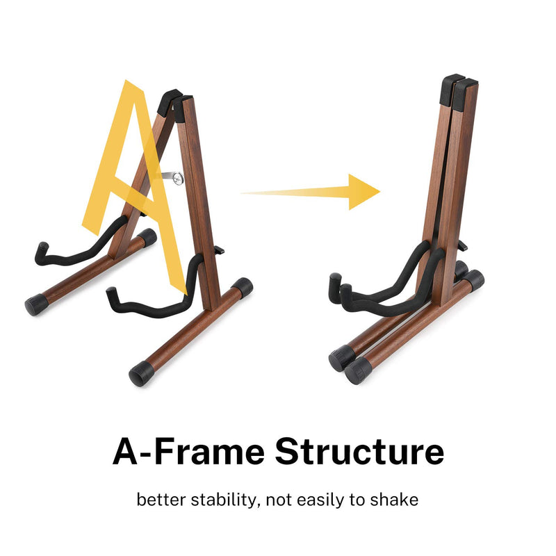 Donner Wooden Guitar Stand Floor Folding A Frame Stand Acacia Wood for Acoustic Electric Classical Guitar, Bass, Banjo Portable Adjustable