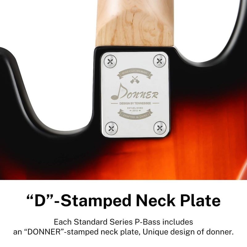 Donner DPB-510S 4 String Full Size Sunburst Electric Bass Guitar Kit for Beginner-4