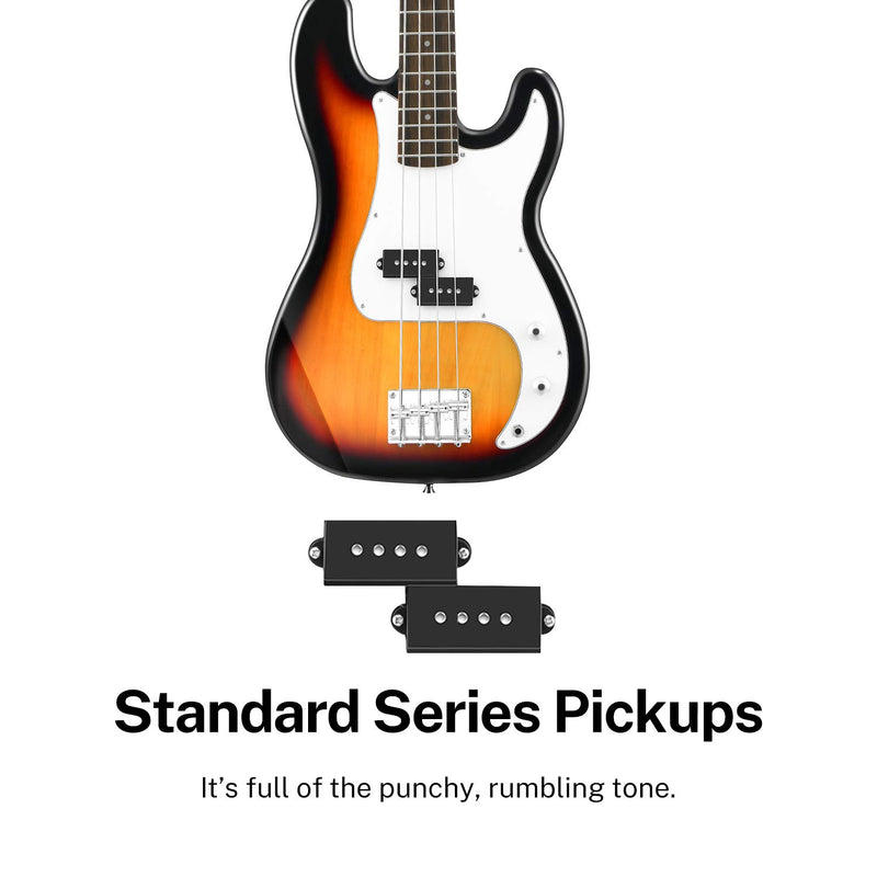 Donner DPB-510S 4 String Full Size Sunburst Electric Bass Guitar Kit for Beginner-2