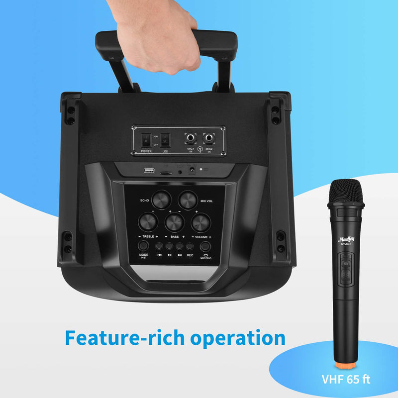 "Moukey Portable CP Speaker System Karaoke Machine Power 200W 12 "" with Wireless Microphones VHF Aux et DJ Light Effect for MP3 Phone TV, MTs12-1"