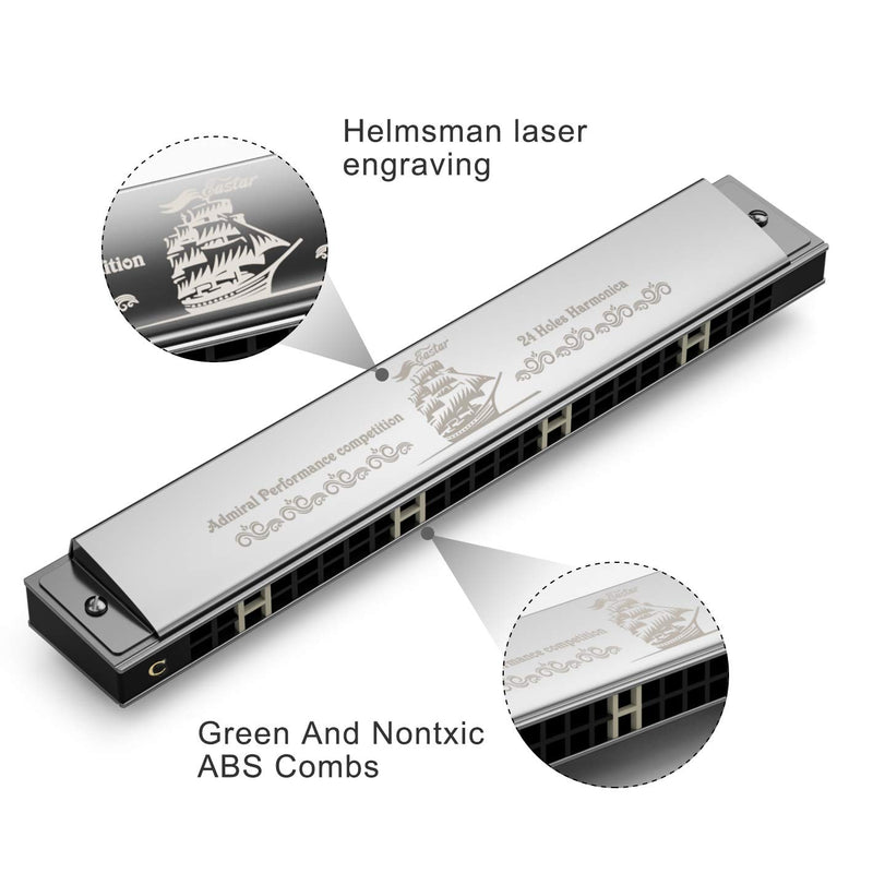 Eastar 24 Holes Admiral Performance Competition C Key Tremolo Harmonica