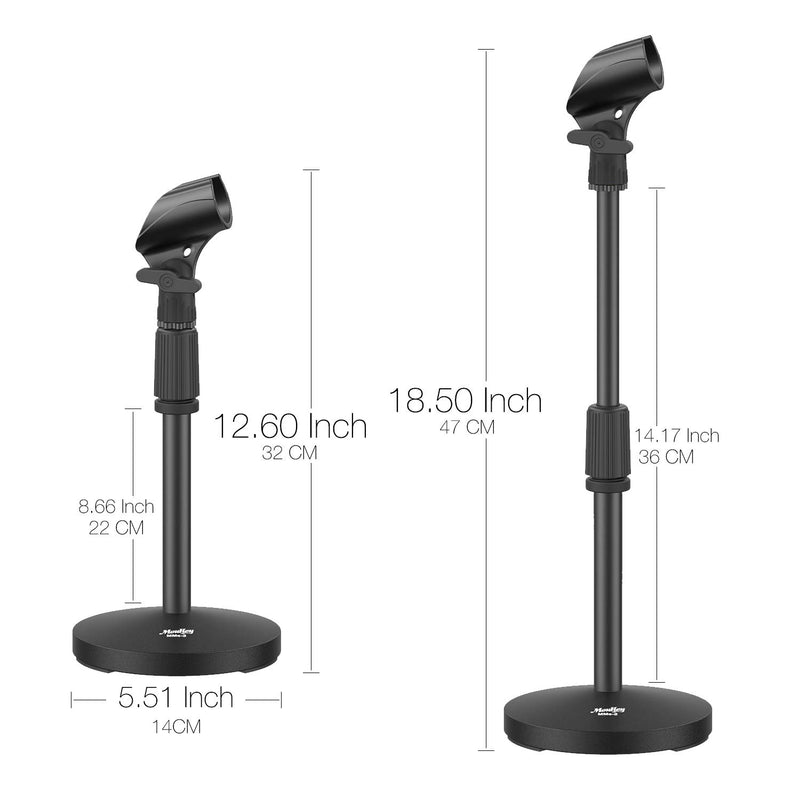 Moukey Adjustable Table Mic Stand Desk Base Desktop Tabletop Microphone Stand with Non-Slip Clip, MMs-2