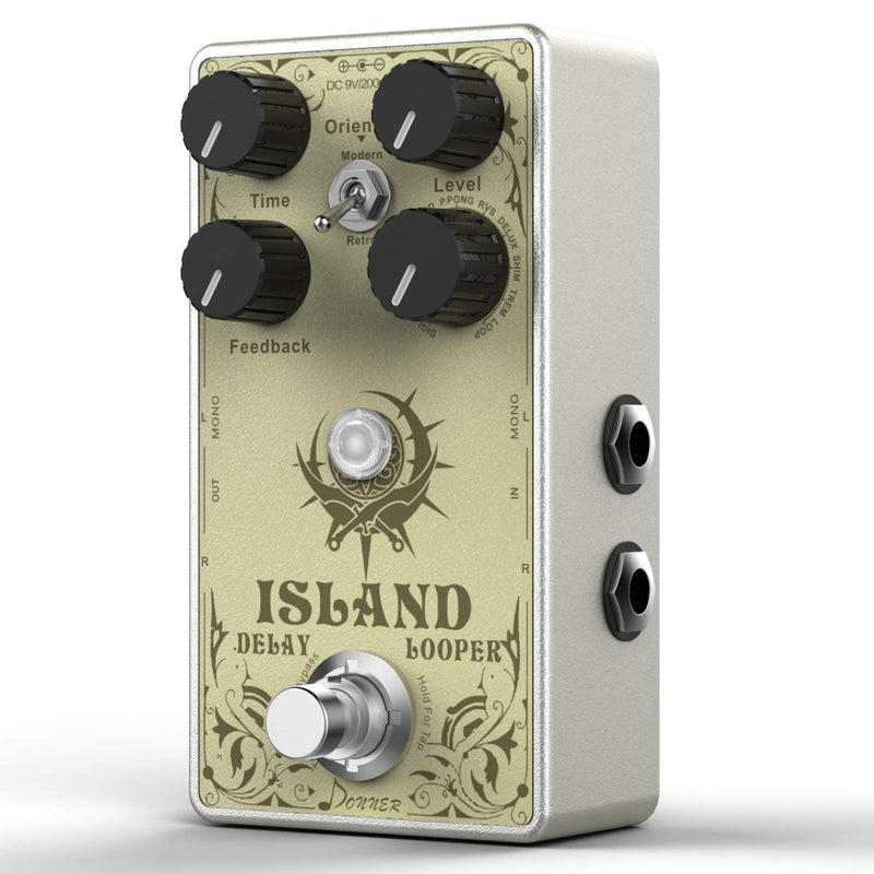 Donner Island Delay Guitar Pedal, Multi-function Delay Looper Pedal, Multi-type 10 World-Class Delay 17-Second Looper