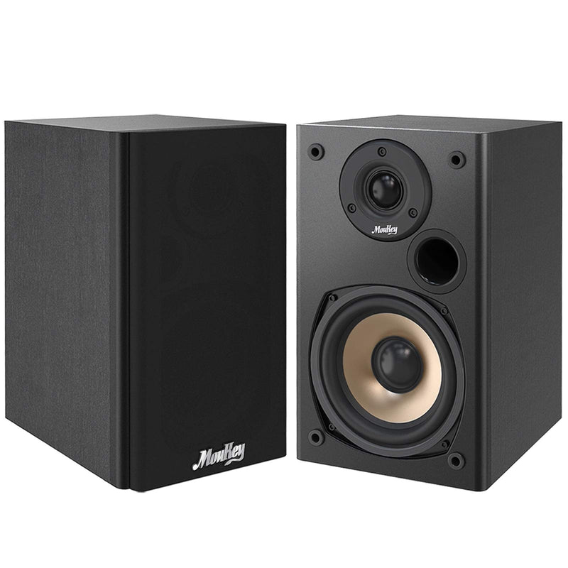 Moukey Bookshelf Speakers 100 Watts Peak Power Home Theater Passive Speakers, 5.25-Inch Wooden Enclosure Stereo Speaker