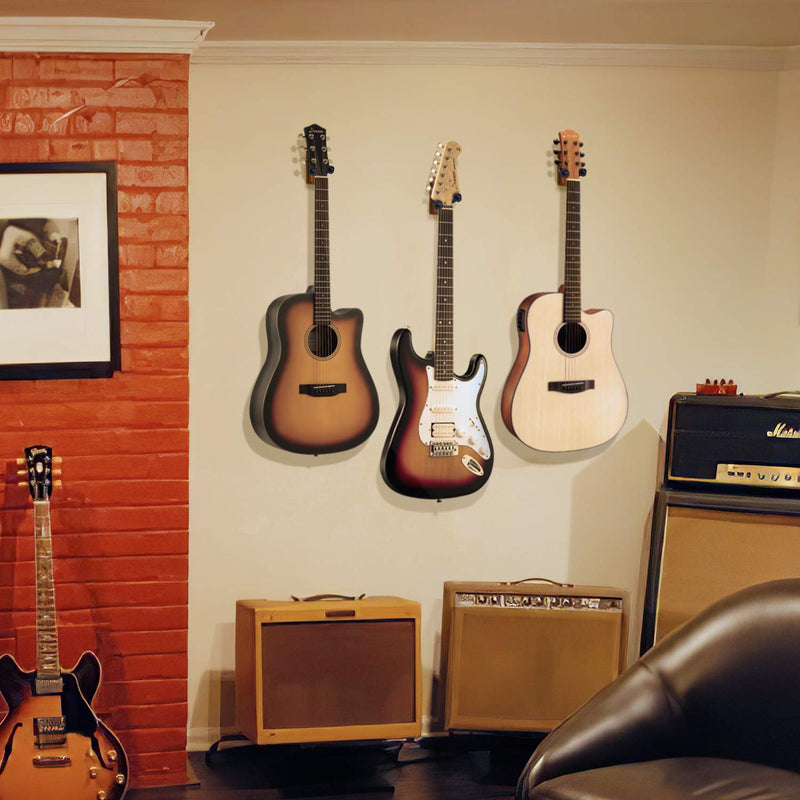 Donner Black Walnut Guitar Wall Mount Hanger for Different Types of String Instruments, Guitars, Bass, Folk Ukulele, Violin, Mandolin Banjo and More