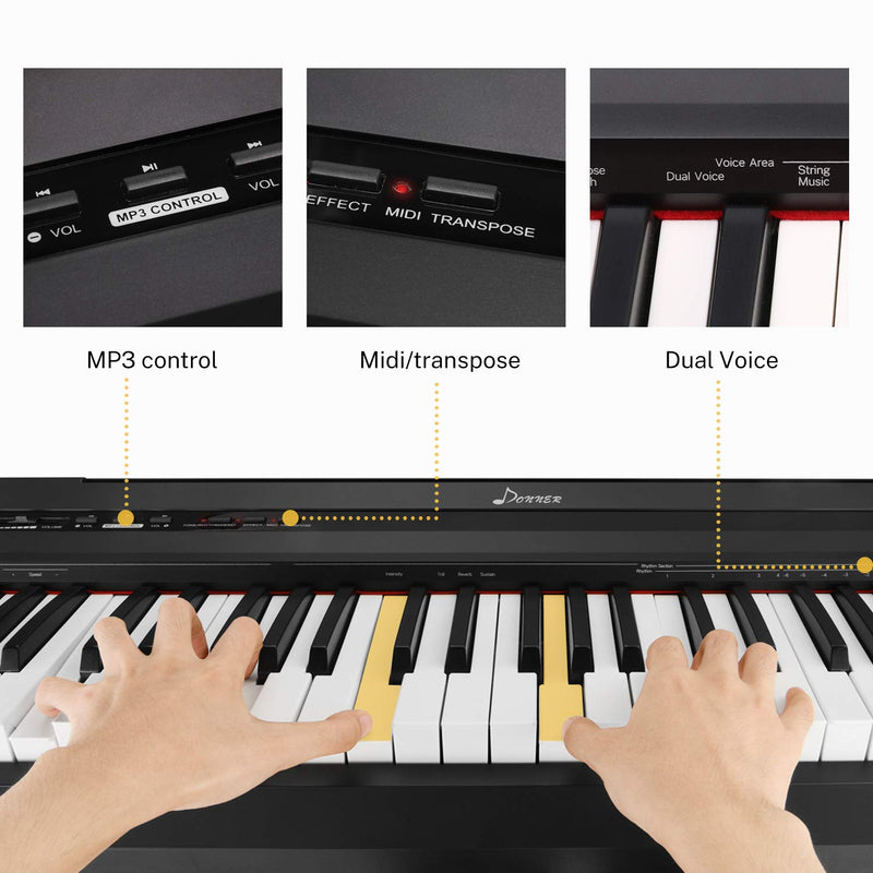 Donner DEP-10S Black Digital Piano Keyboard 88 Keys Full Size Kit-5