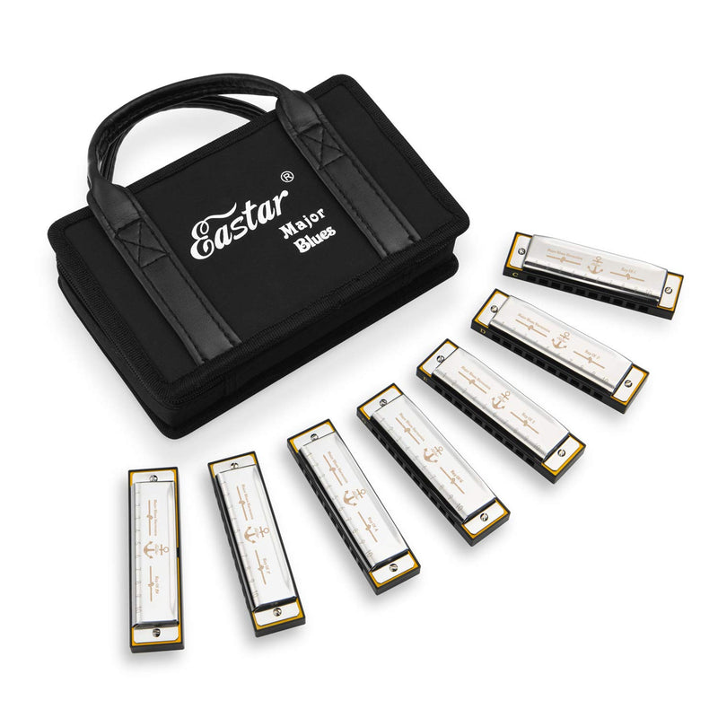 Eastar Major Blues Harmonica Sets 7 Keys Diatonic Harmonica in Key for Adults Beginners Students Kids 7-Pack with Carrying Case & Cleaning Cloth