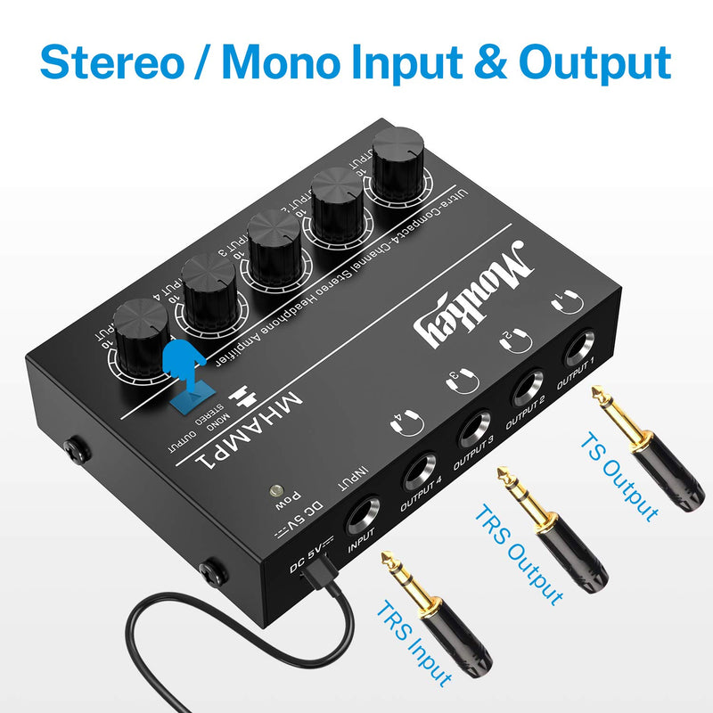 Moukey Headphone Amp Amplifier 4 Channels Metal Stereo Audio Amplifier