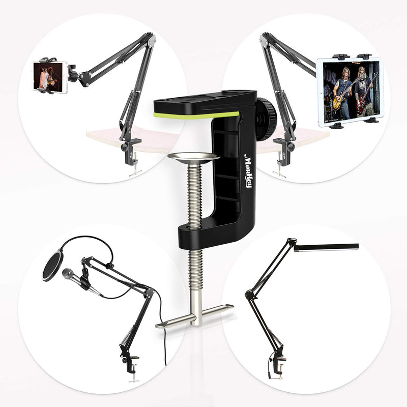 Moukey Desk Table Mount Clamp For Microphone Mic Suspension Boom Scissor Arm Stand Holder with Adjustable Screw