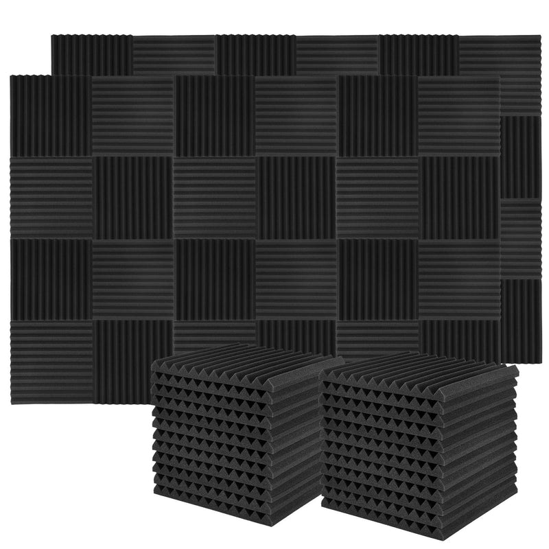 Donner 50-Pack Acoustic Foam Panels Wedges, Fireproof Soundproofing Foam Noise Cancelling Foam for Studios, Recording Studios, Offices, Home Studios