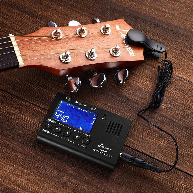 Donner DMT-01 Digital Metronome Tuner for Guitar, Piano, Trumpet, Chromatic Instruments, 3 in 1 Digital Metronome Tuner/Metronome/Tone Generator