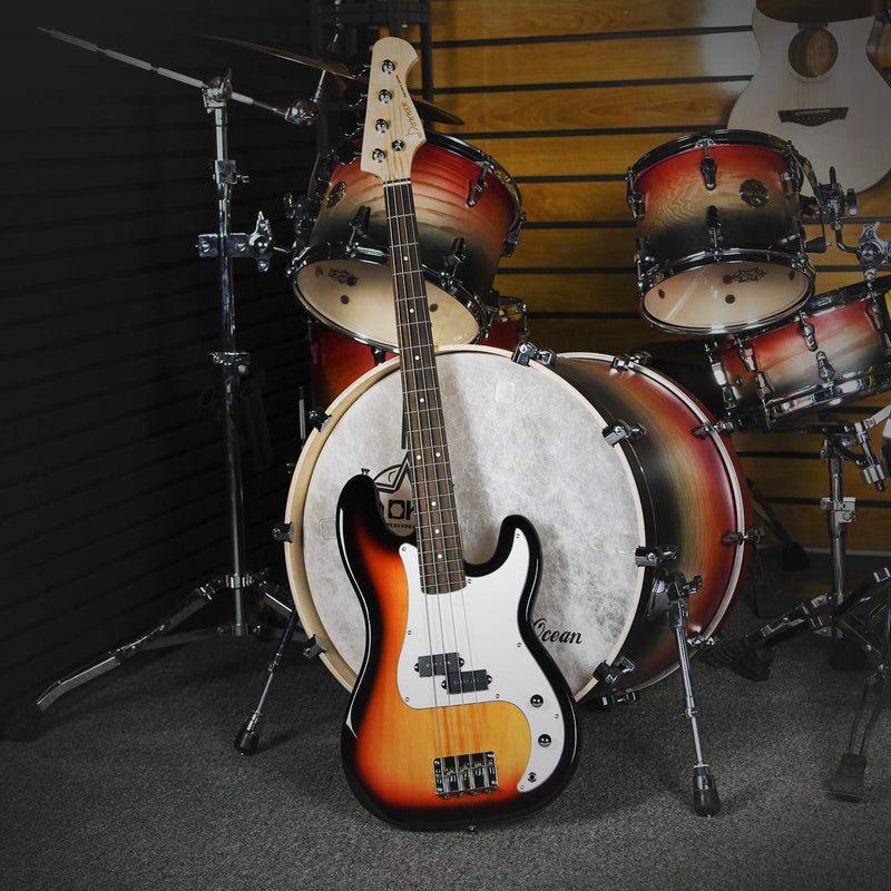 Donner DPB-510S 4 String Full Size Sunburst Electric Bass Guitar Kit for Beginner-7