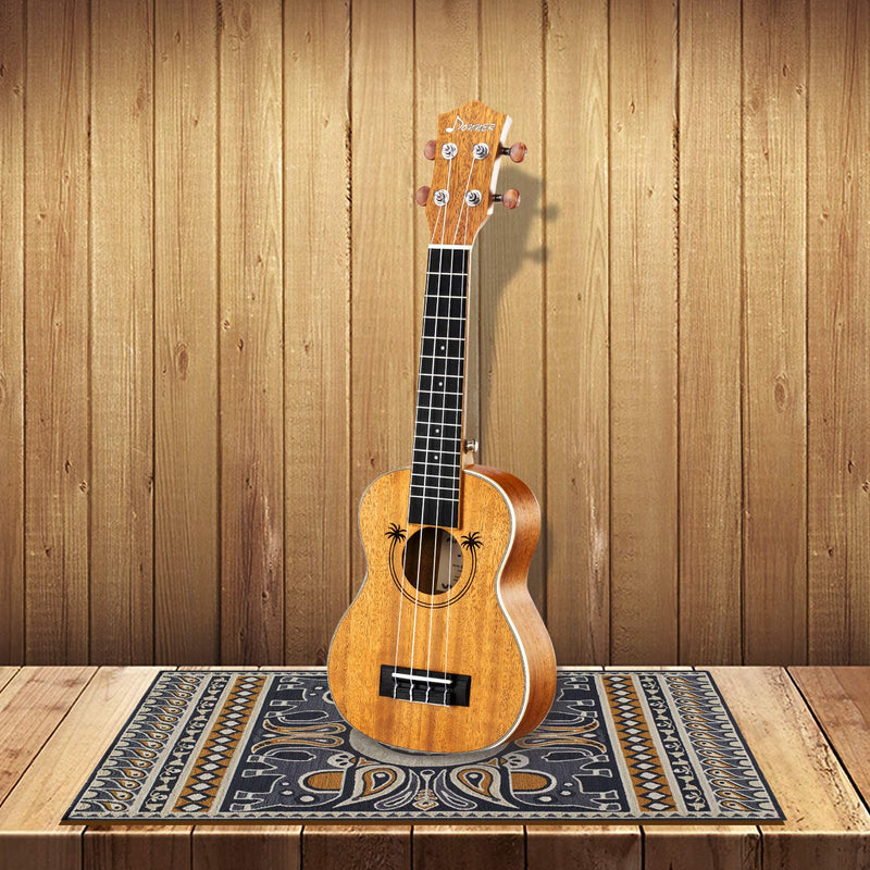 Donner Soprano Ukulele Beginner Kit Ukulele Professional Starter Set Student Adult Child Solid Top Mahogany Hawaii Guitar with Online Lesson