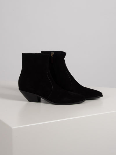 Ankle Boots Velours Schwarz (6162657214655)