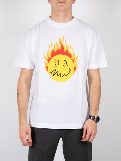 T-Shirt Burning Head in Weiß (6214243778751)