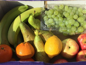 Fruit Box - Apples, Clementines, Bananas, Grapes, Pears, Lemon