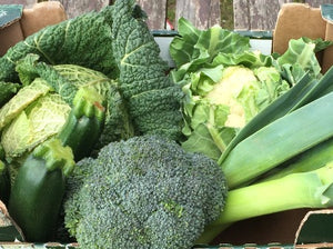 Greens Vegetable Box - Cabbage, Broccoli, Courgettes, Cauliflower, Leeks