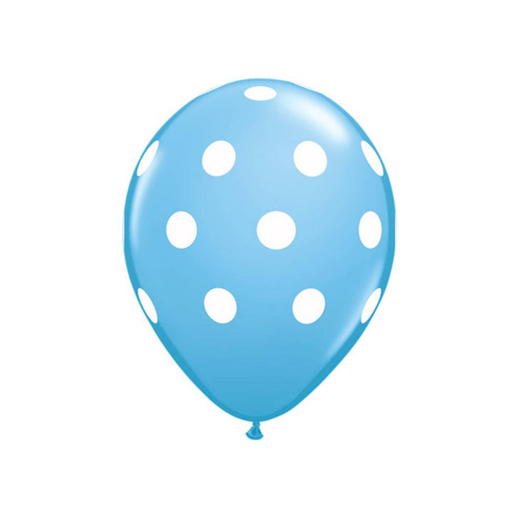 "Baby Blue Polka Dots 11"" Qualatex Balloons"