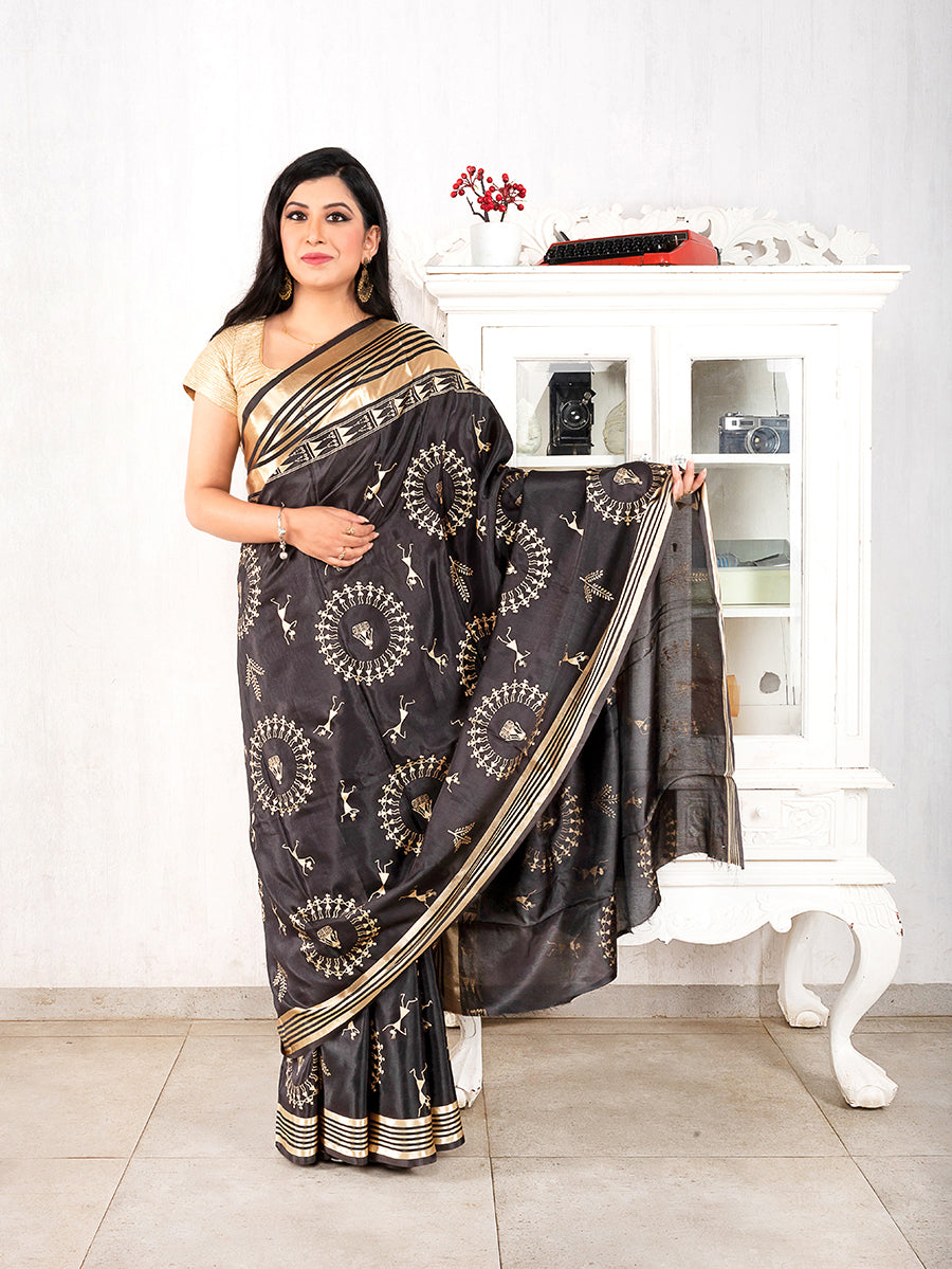 Sanapatta Saree with Warli Work
