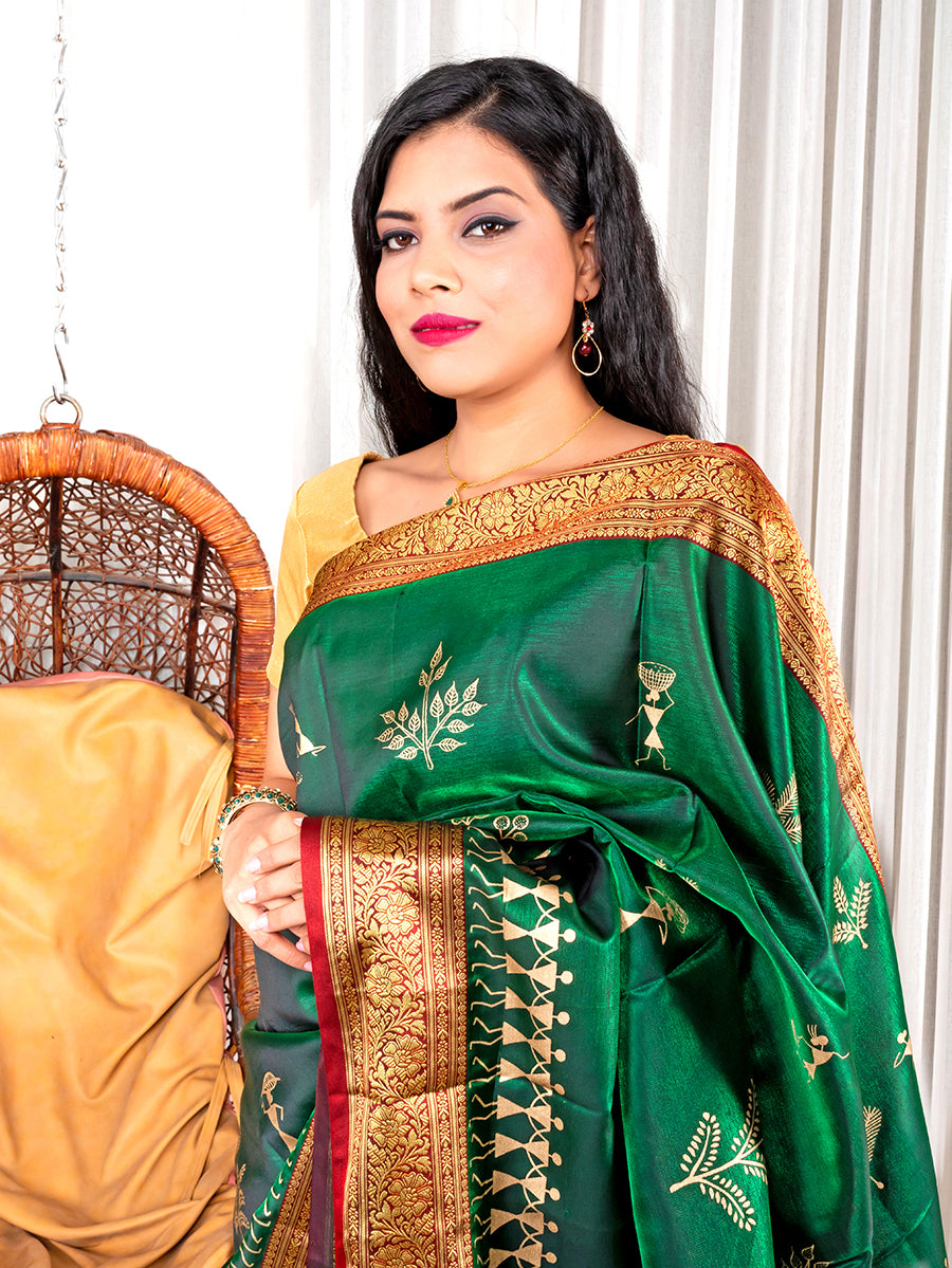 Green Saree with Warli Work