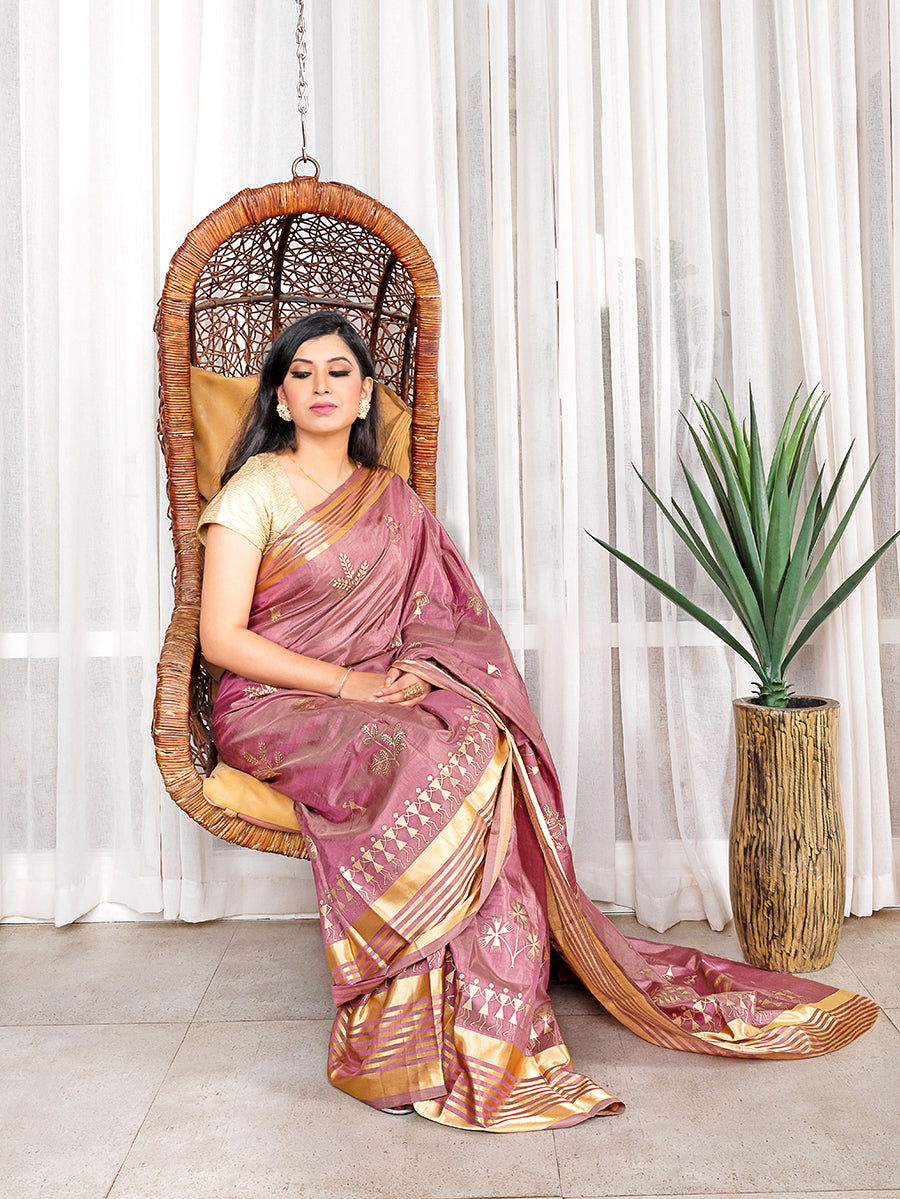 Silk Gadwal Saree with Warli Work