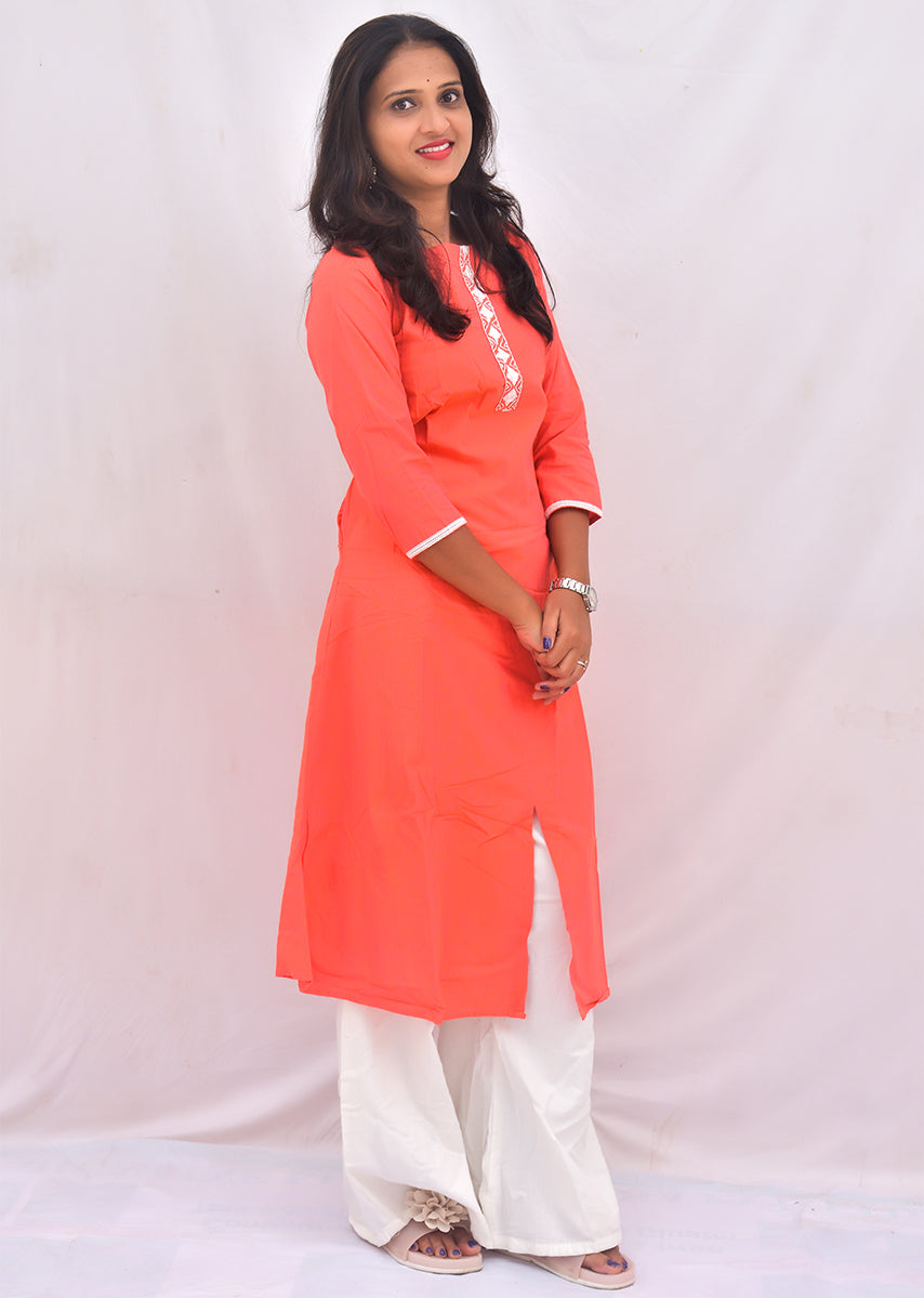 Peach Embroidered A-line Kurti