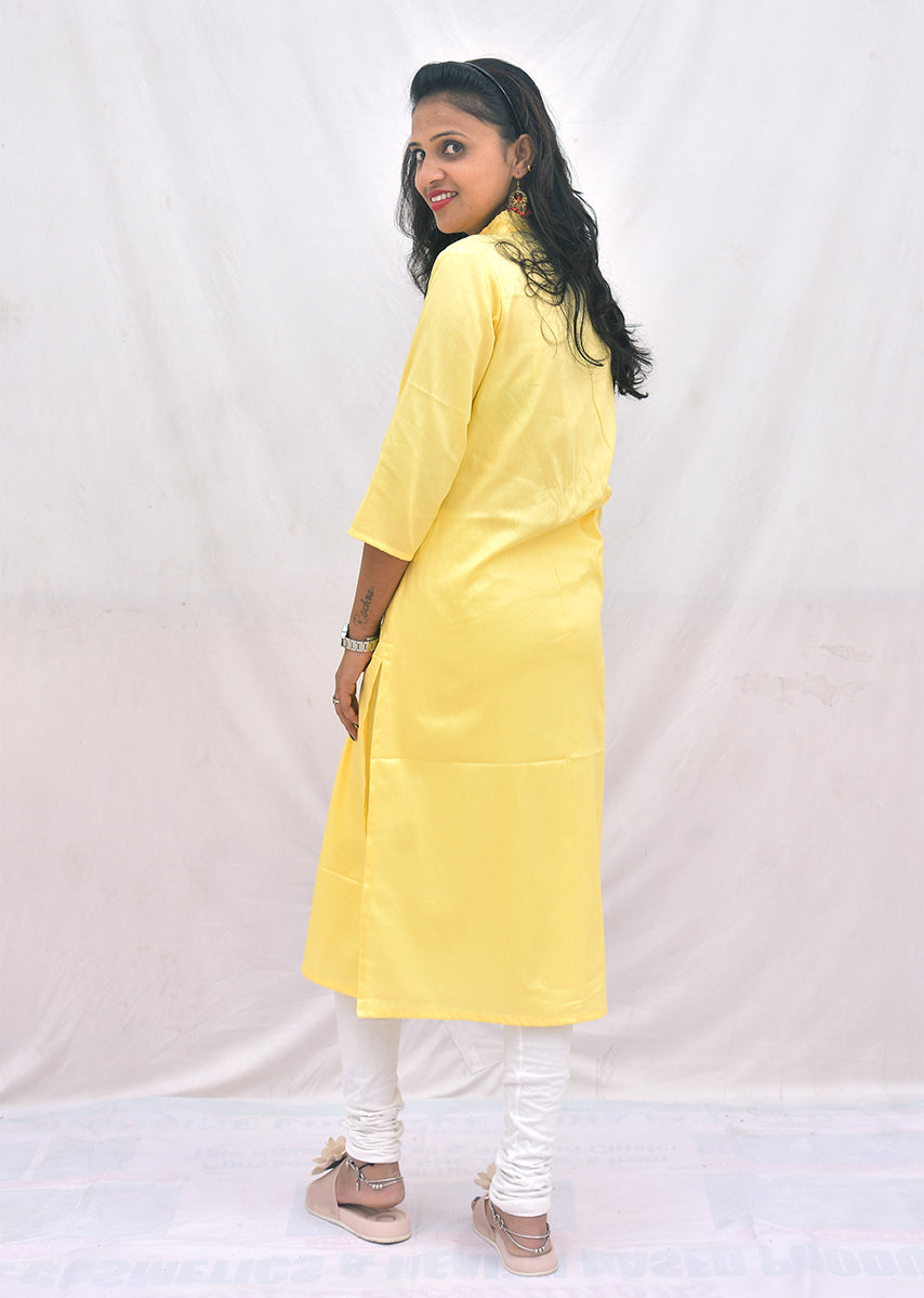 Light yellow cotton satin Kurti